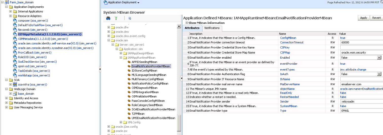 Configuring SMTP Notifications in Oracle Identity manager