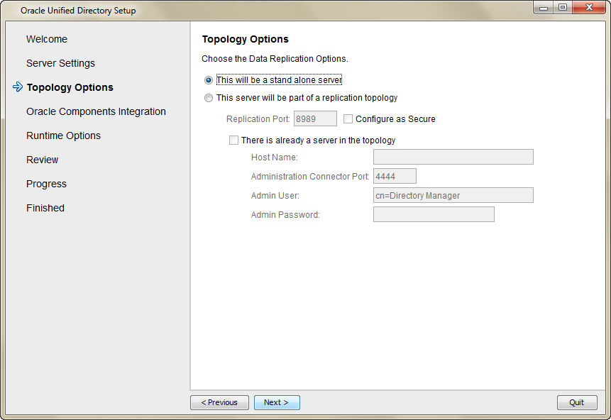 Setup a new directory server instance in Oracle Unified Directory