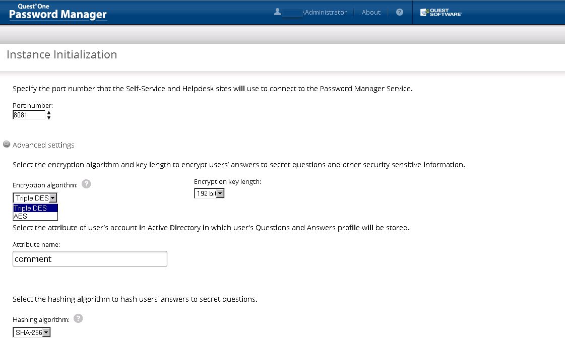 Specify The Port Number For Self Service U0026 Help Desk Site In Quest One  Password Manager Version 5.5.1