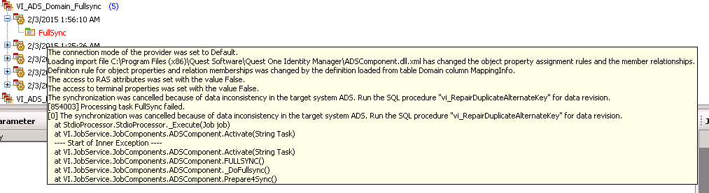 AllIDM-Dell-Identity-Manager-AD-Error-vi_RepairDuplicateAlternateKey-JobTool